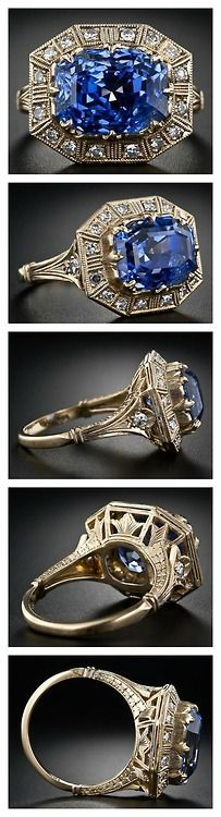 Vintage Jewelry Art carat Art Deco-style sapphire and diamond ring. Via Diamonds in the Library. - This stunning sapphire and diamond ring features an carat sapphire in an Art Deco-inspired yellow gold setting. Antique Rings, Vintage Rings, Antique Jewelry, Vintage Jewelry, Bijoux Art Deco, Art Deco Jewelry, Jewelry Design, Owl Jewelry, Jewellery