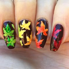 Fall maple leaves nail art. Ombré water color rainbow