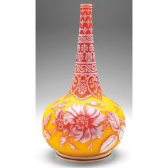 Thomas Webb & SOns vase, large bulbous tapering shape with a cameo design of roses and two butterflies and a bee in red and white, all against a yellow background, the rose-colored highlighted neck has a detailed and elaborate decoration in white.