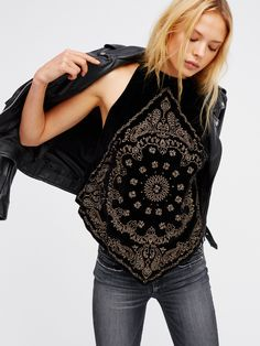Bandana Bling Tank | Gorgeous velvet tank with bandana-inspired embroidery and pointed shape. Features a chic high neckline. Cute back keyhole cutout with exposed button closures.