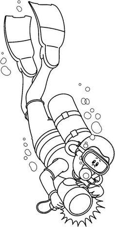 Scuba diver under the sea coloring page ktc crafts for Deep sea diver coloring page