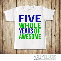 5th Birthday Shirt Boy Fifth 5 Boys Five Whole Years Of Awesome