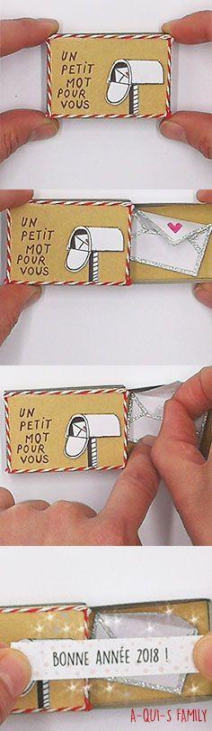 Boite en carton ( allumette ) petit message Bonne année #cartedevoeux #carte #bonneannée #nouvelleannée #boite #message #voeux #diy