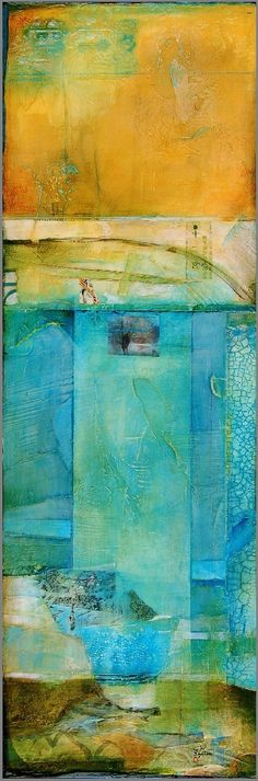 CW SLADE - homage #5 mixed media on wood 30 x 10