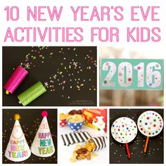 10+ awesome New Year's Eve crafts and activities for kids - the entire family is going to want to join in on the fun! Coloring party hats, a printable word search, DIY party poppers, confetti launchers, glitter wands and more! #Ad @HorizonOrganics