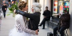 Boho Chic Femme City Elopement Cambridge, MA — James Pancoast Photos Intimate morning of wedding day photo shoot of the couple snuggling, cuddling and having fun followed by bohemian chic elopement lesbian wedding | street performer serenade