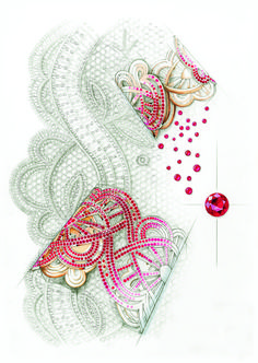 Chopard. Ruby bracelet with openwork design and pavé-set ribbon of lace in rubies.