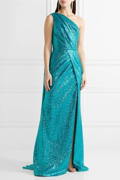Elie Saab | One-shoulder cutout sequined tulle gown | NET-A-PORTER.COM