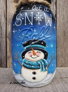 This item is unavailable Let It Snow Hand Painted Ball Mason Jar, Snowman, Let It Snow Mason Jar Snowman, Mason Jar Art, Pot Mason, Christmas Mason Jars, Ball Mason Jars, Mason Jar Crafts, Christmas Paintings, Christmas Art, Christmas Decorations
