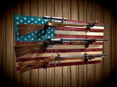 Unique Wooden Gun Rack For The Wall Gallery - - Gun Decor, Bow Rack, Rifle Rack, American Flag Pallet, Gun Rooms, Small Wood Projects, Diy Projects, Wood Flag, Wall Hanger