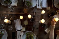 table, candles, dark and intimate