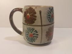 Vintage 1960s Otagiri Style Flower Glazed Coffee Mug, Tea Mug, Coffee Cup, Tea Cup