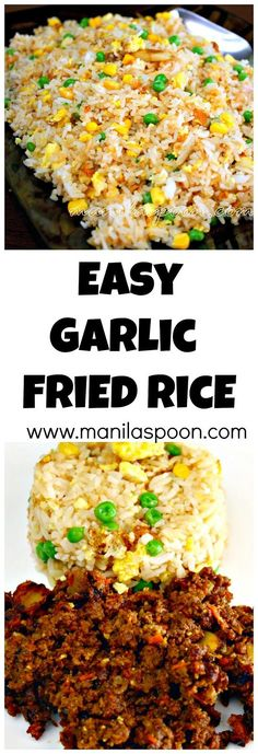 No need to throw left-over rice when you can make this easy and tasty garlic fried rice. No need to throw left-over rice when you can make this easy and tasty garlic fried rice. Side Dish Recipes, Asian Recipes, Dinner Recipes, Healthy Recipes, Dutch Recipes, Japanese Recipes, Easy Recipes, Healthy Food, Couscous