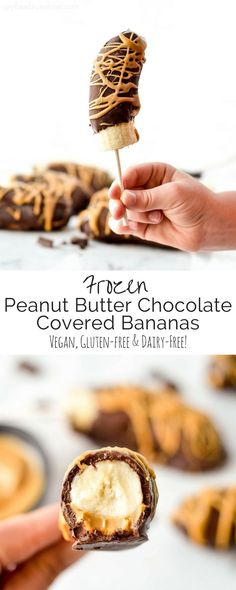Frozen Peanut Butter Chocolate Covered Bananas are an easy, 3 ingredient dessert! They are a perfect healthy treat for a hot summer day! Vegan, gluten-free and dairy-free! (Vegan Gluten Free Baking)