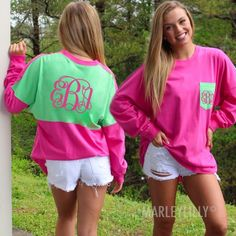 Pink and Green Monogrammed Colorblock Pocket Jersey Pullover Shirt from Marleylilly.com