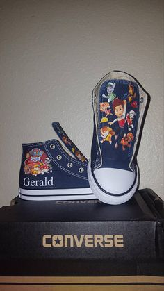 eb637c0371ce50 Paw Patrol custom Converse.    DESCRIPTION    These custom shoes come in hi