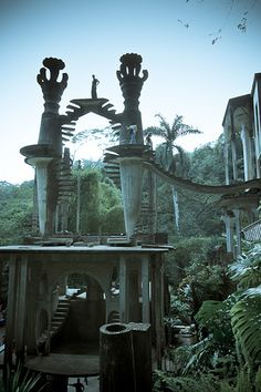 Edward James' Las Pozas near Xilitla, Mexico - Between 1949 and 1984, James built scores of surreal concrete structures with names like the House on Three Floors Which Will in Fact Have Five or Four or Six, the House with a Roof like a Whale, and the Staircase to Heaven.[12] There were also plantings and beds full of tropical plants, including orchids.