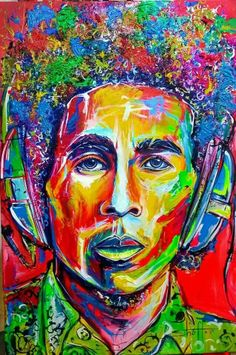 """""""Emancipate yourself from mental slavery."""" Redemption song, Bob Marley Art by Shaff Oceans Bob Marley Painting, Bob Marley Art, Colorful Pictures, Art Pictures, Art Pics, Divas, Nesta Marley, Brown Art, Dope Art"""