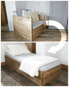 DIY Chair that folds into bed Perfect for extra sleeping in a tiny house Ana White Twin Sleeper Chair DIY Projects Carpentry Projects, Wood Projects, House Projects, Diy Projects For Bedroom, Twin Sleeper Chair, Woodworking Bench, Woodworking Crafts, Woodworking Classes, Woodworking Magazines