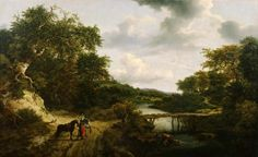 Landscape with a footbridge, Jacob van Ruysdael. Was restituted to the Frick by the Monuments Men