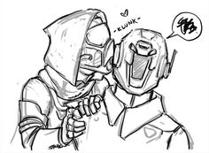 """Helmet Kisses"" by Destiny Comic, Destiny Game, Character Sheet, Character Design, Destiny Bungie, Airsoft Mask, Shadow Art, Bad Feeling, Couple Art"