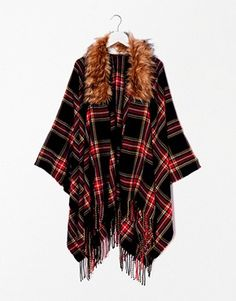 Find the best selection of River Island Plaid Faux Fur Trim Cape. Shop today with free delivery and returns (Ts&Cs apply) with ASOS! River Island, Fur Trimmed Cape, Plaid Scarf, Tartan, Faux Fur, Asos, Casual Outfits, Kimono Top, My Style
