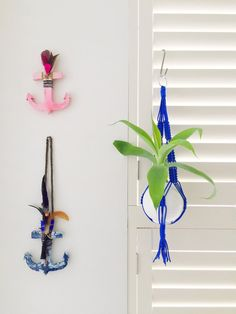 Small & Large Electric Blue Macrame Plant by lilcreationsByRoxy