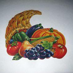 Vintage Cornucopia Pumpkins Corn Vegetables by grandmothersattic, $4.95