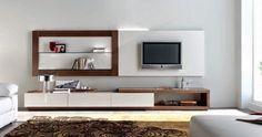 Composición para salón MISTRAL de Expormim: Mueble TV con cajones y paneles para colgar. De madera de roble, acabados tinte y sólido (blanco laca). Frentes, opcionalmente, lacados o porcelánicos.