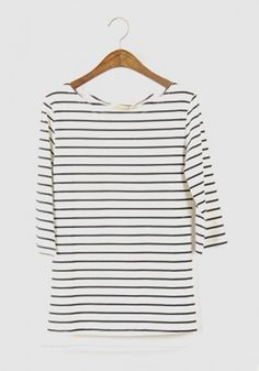 Black Striped Round Neck Seven's Sleeve Cotton T-Shirt