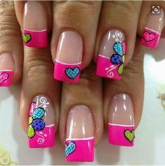 Best & Cute Valentine's Day Nail Art Designs - Reny styles French Nails, Pretty Nails, Fun Nails, Valentine Nail Art, New Nail Art, Super Nails, Nagel Gel, Fabulous Nails, Flower Nails