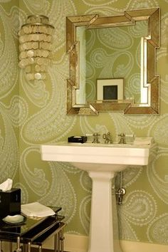 dramatic wallpaper for powder rooms | powder room by Elizabeth Dinkel