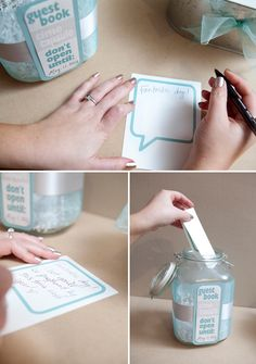 'Time capsule' wedding guest book! Don't open till your first year anniversary!  Oh amazing, and creative idea! :)