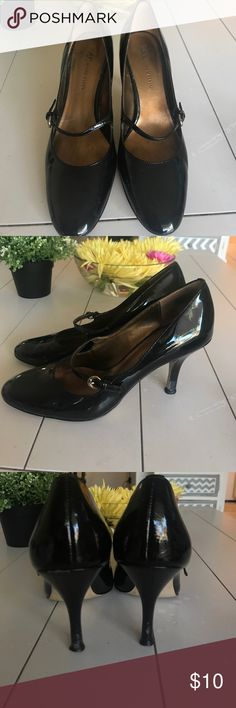 👠 Anne Klein Mary Janes 👠 Black Patton Leather Mary Janes by Anne Klein...size 7.5 these show some signs of wear on the heel ...I've taken pics to show and enhance but not so notable when wearing...the good news is that they are very comfortable 😉😂😉 Anne Klein Shoes Heels