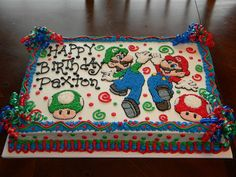 Mario and Luigi Cake Mario Birthday Cake, Super Mario Birthday, 6th Birthday Parties, 7th Birthday, Birthday Ideas, Super Mario Party, Super Mario Cake, Luigi Cake, Mario Bros Cake