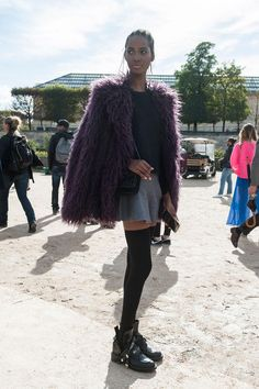 45 Street Style Inspired Ways to Wear a Mini Skirt Through Fall - Purple shaggy fur coat, gray skater skirt, and thigh high socks