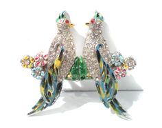 Bird Duette Brooch with Colorful Enamel & White Rhinestones and Flowers - Vintage Jewelry Splitting Double Brooches Old 30s Figurals