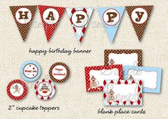 Sock Monkey - DIY Printable Personalized Birthday Party Package Party Pack on Etsy, $30.00