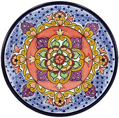 Large Talavera Plate ~ Talavera plate is made in Puebla, Mexico and is 100% lead free; chip resistant; and microwave, oven, and dishwasher safe! $109
