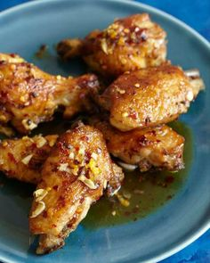 Sweet Paul: Spicy Honey Ginger Wings Sauce sounds amazing so I'm hoping this is adaptable to any chicken Great Recipes, Favorite Recipes, Sweet Paul, Spicy Honey, Chicken Wing Recipes, I Love Food, Appetizer Recipes, Appetizers, Asian Recipes