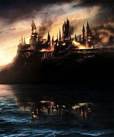 Seeing Hogwarts on fire is haunting... horrifying, but you can see its beauty just there under all the chaos. And you know all will be well because, well shit, it's Hogwarts. #HarryPotter