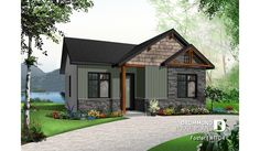 Color version 7 - Front of house plan 1704 Small Rustic House, Modern Small House Design, Small Cottage Homes, Rustic House Plans, Simple House Design, Cottage House Plans, Bedroom House Plans, Modern House Plans, Narrow Lot House Plans