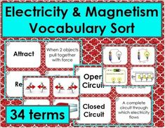 Practice, Review and Assess your students understanding of these 34 vocabulary terms. Students match the term with the definition and then the real world example that best describes the term! Check out the preview! Differentiated so that you can use as little or as many terms as works for your students!Terms: Attract, Repel, Force, Magnet, Magnetite or Lodestone, Magnetism, Magnetic Poles, Temporary Magnet, Induced Magnetism, Ferromagnetic, Electron Spin, Electron, Atom, Current, Electric…