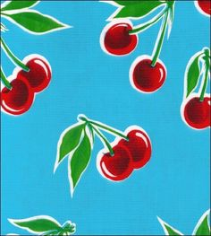 Check out this retro inspired cherry pattern! It comes in 11 different colors, so there's one for any style!     oilclothbytheyard.com