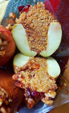 Pumpkin Quinoa Cinnamon Spice Baked Apples & Pears with Cranberry, Walnuts, & a Honey Glaze!
