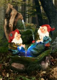 Two Gnomes on Leaves Water Feature with Lights Indoor Outdoor, Backyard Water Feature, Over The Moon, Water Features, Gnomes, Woodland, Leaves, Lights, Painting