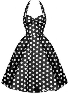 Cheap vintage dress, Buy Quality dress polka dot directly from China women dress Suppliers: Summer Women Dress Vestidos Retro Vintage Dress Polka Dots Pinup Rockabilly Plus Size Sexy Halter Short Party Dresses Vestidos Vintage, Vintage Dresses, Vintage Outfits, Vintage Fashion, Trendy Fashion, Fashion Women, High Fashion, White A Line Dress, White Skater Dresses