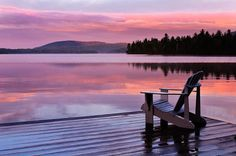 Sunrise at Blue Mountain Lake.  I would love to sit in that chair forever looking at that view!!