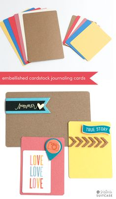 Use up some of your scrapbooking supplies to embellish Project Life Cardstock cards in coordinating colors! #projectlife