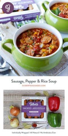 Is it jambalaya? Is it stuffed pepper soup? We don't know, but it's delicious and only 224 calories per bowl - seems like a good test run for a New Years Resolution. Sausage Rice, Sausage And Peppers, Chicken Sausage, Sausage Recipes, Soup Recipes, Healthy Recipes, Healthy Dinners, Easy Recipes, Healthy Food
